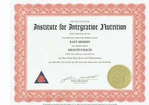 Institute for Integrative Nutrition Certificate, Kate Moody, Health Coach