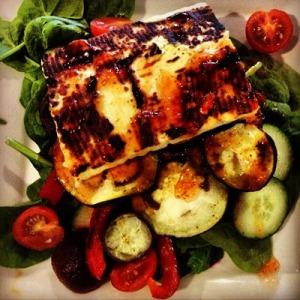Grilled haloumi, eggplant and red capsicum salad