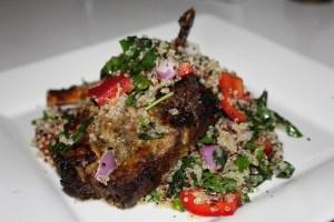 Greek lamb with hummus and quinoa tabbouleh salad