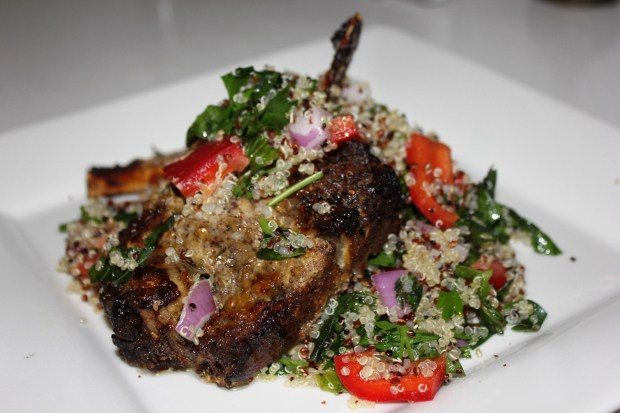 Greek lamb with hummus and quinoa tabbouleh