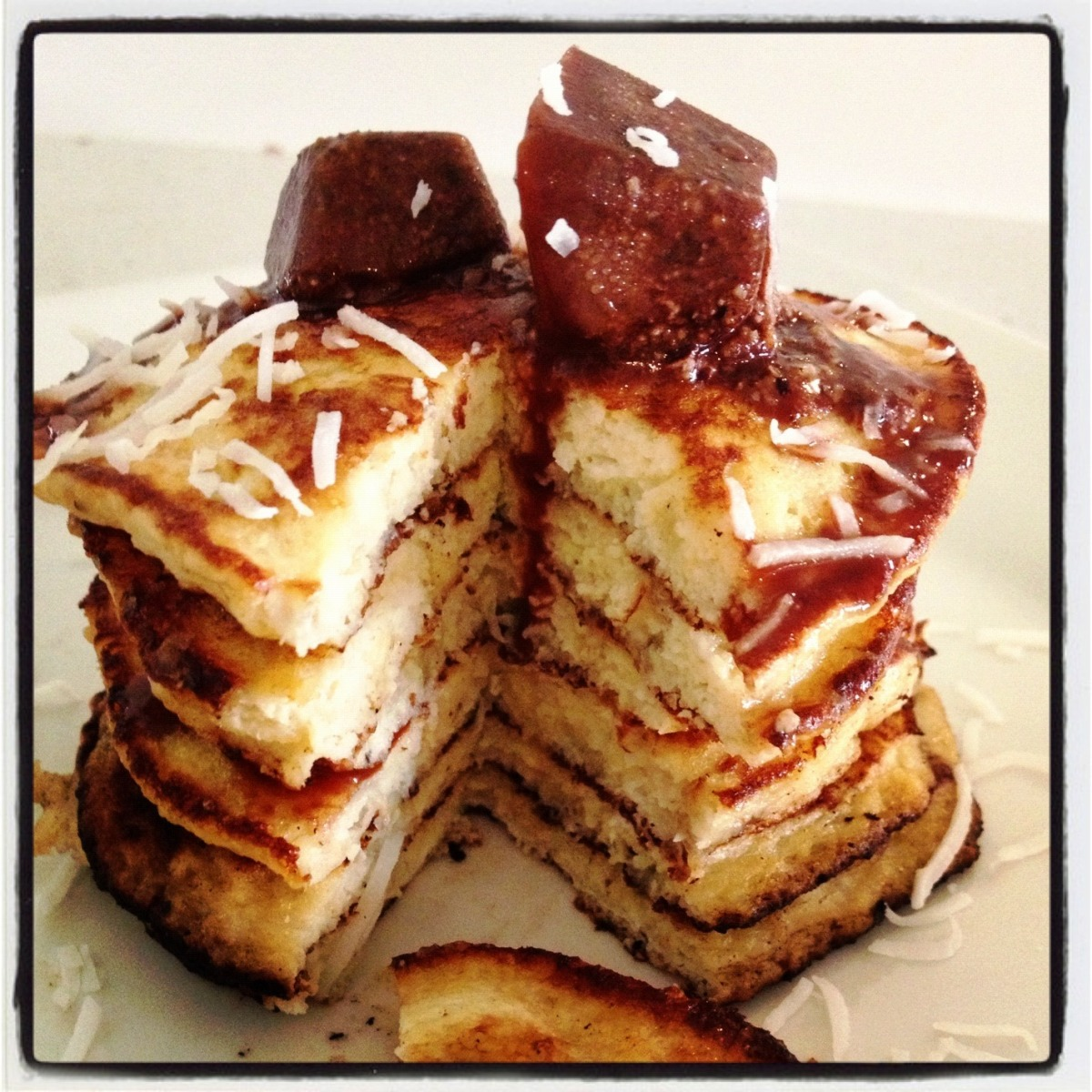 Banana nut pancakes with chocolate and coconut