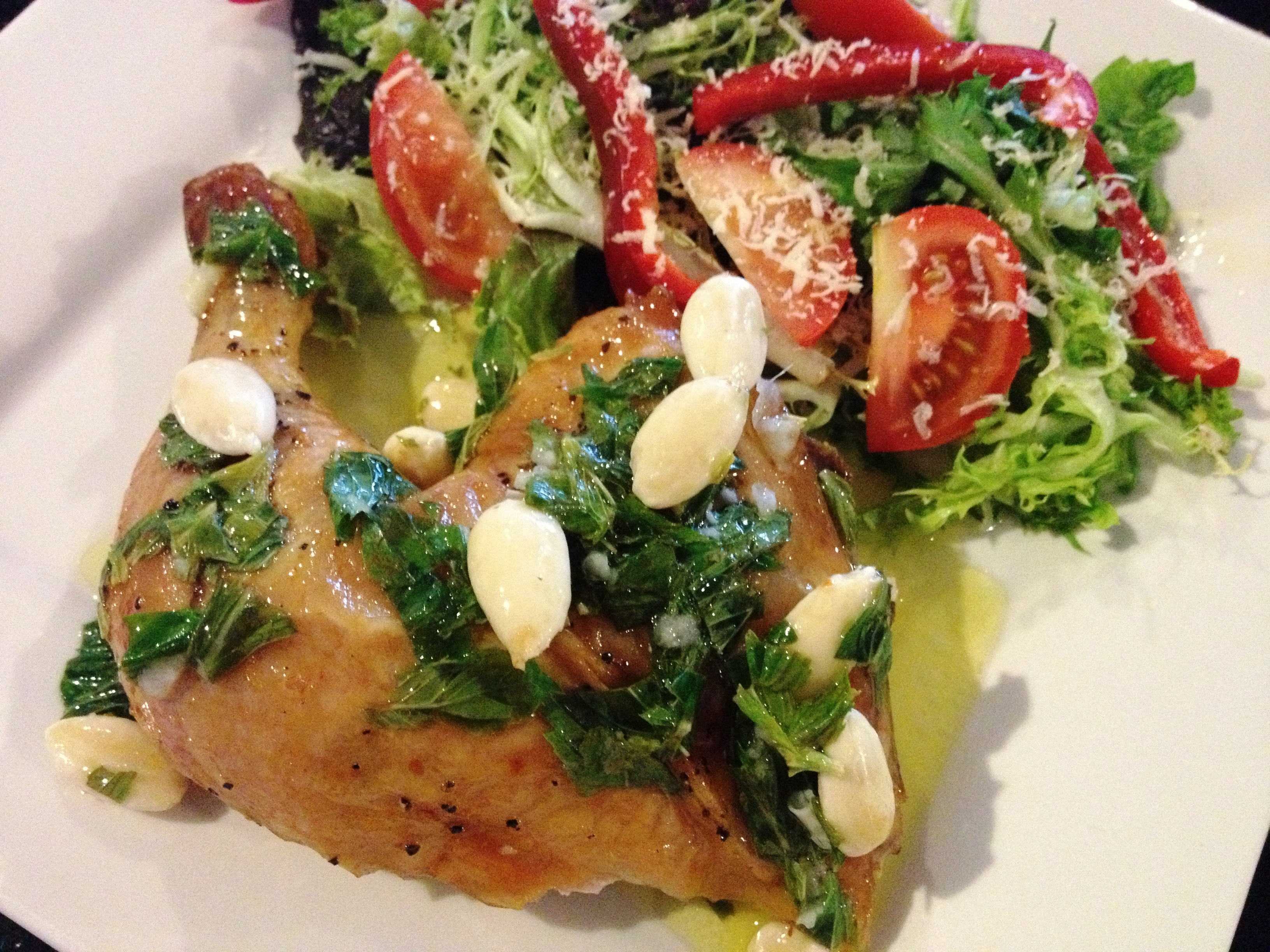Roast chicken with salad and almond mint dressing