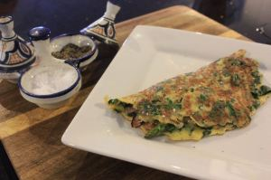 Ham cheese spinach and asparagus omelette