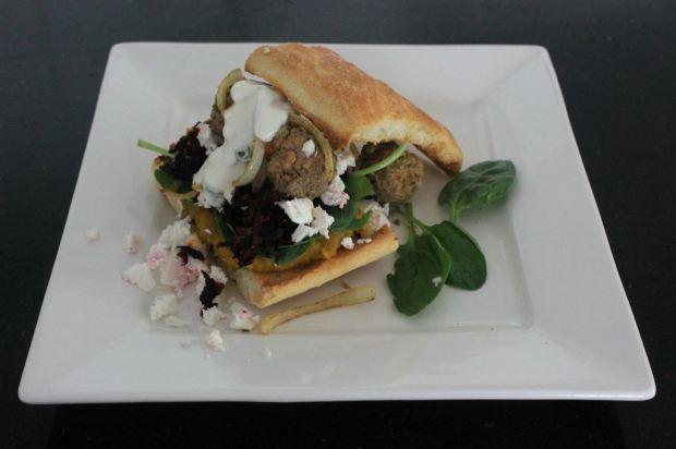 Mediterranean meatball open sandwich