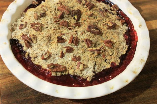 Bubbling summer fruit crumble