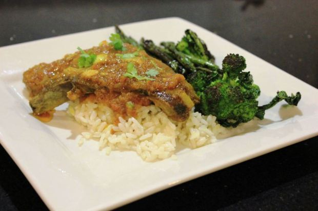 Indian curry with lamb spare ribs, broccoli, grean beans and jasmine rice