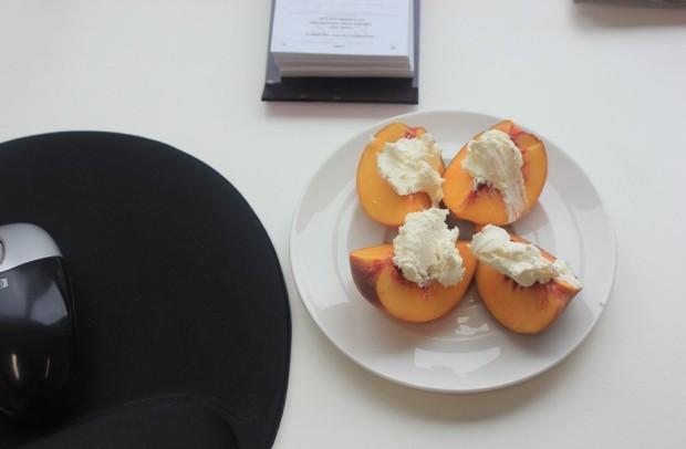 Peaches and cream cheese