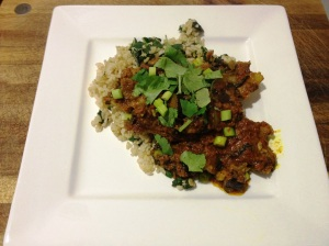 Indian curry with lamb spareribs eggplant and spinach rice