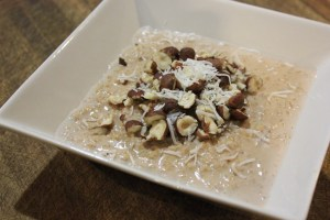 Oats with banana cacao hazelnuts and coconut