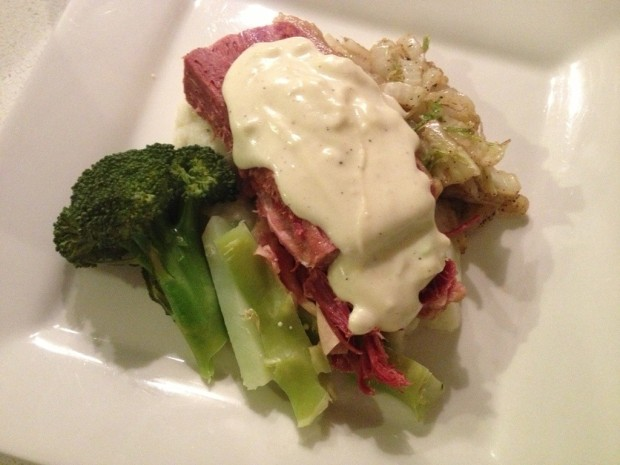 Corned beef silverside with cauliflower puree, cabbage, broccoli and ...
