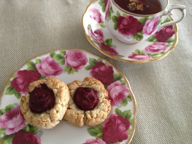 The perfect afternoon tea: sugar- and gluten- free jam drops and tea