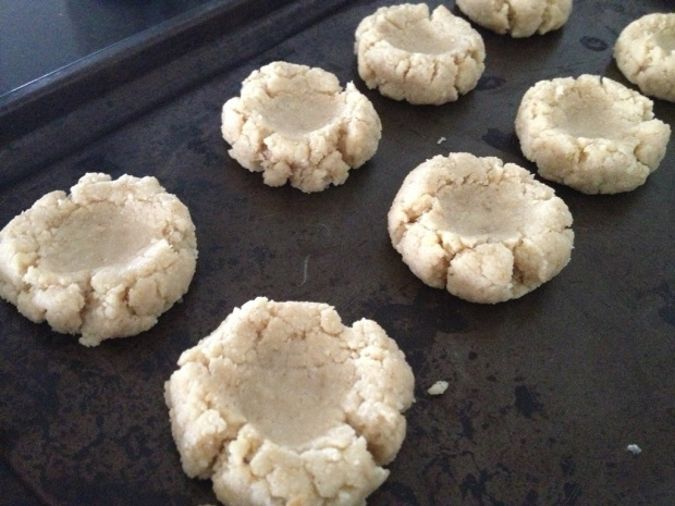 Make indents in the dough of your jam drops