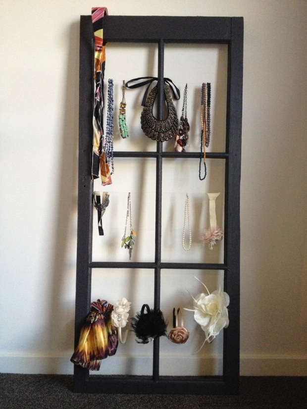 Jewellery display from old timber window frame