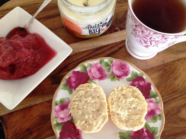 Sugar free scones with jam and cream and tea