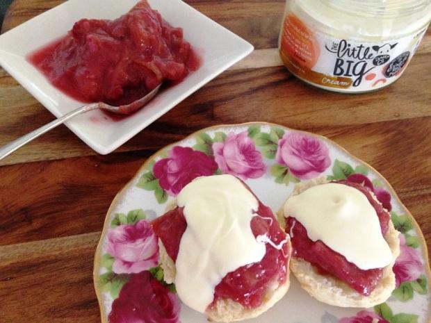Sugar free scones with jam and cream