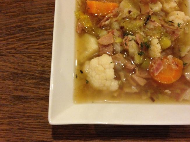 Bacon, leek and sweet potato soup
