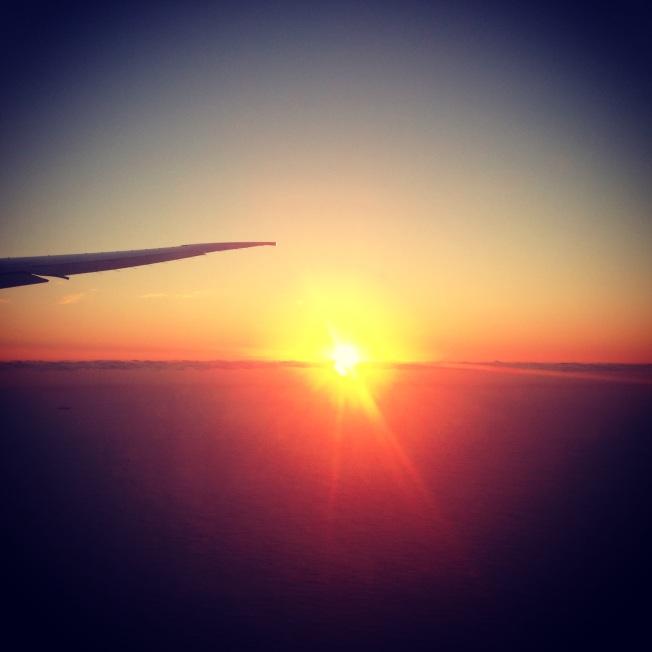 Flying over sunrise