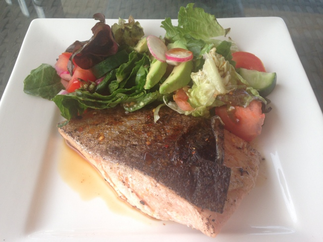 Asian-inspired barbecued salmon with honey, chilli and tamari salad dressing