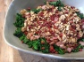 Shredded kale, bacon and walnut salad