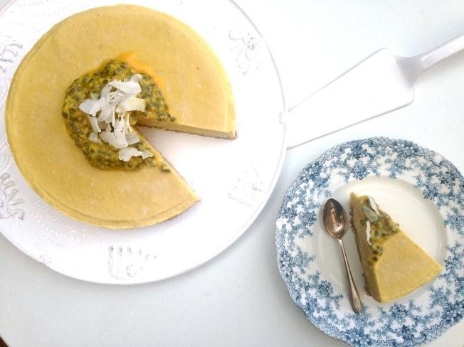 Raw, paleo mango and passionfruit cheesecake