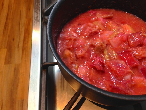 Stewed rhubarb, pear and orange