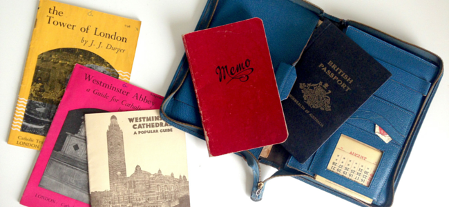 Nan's travel passport and souvenirs from 1952 at Westminster Cathedral and the Tower of London