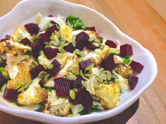 Fennel, beetroot and cauliflower salad with citrus dressing