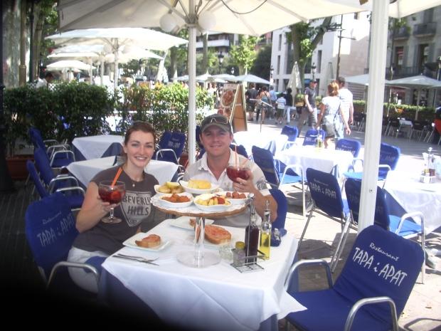 Spanish tapas and sangria at a restaurant along La Rambla, Barcelona, Spain